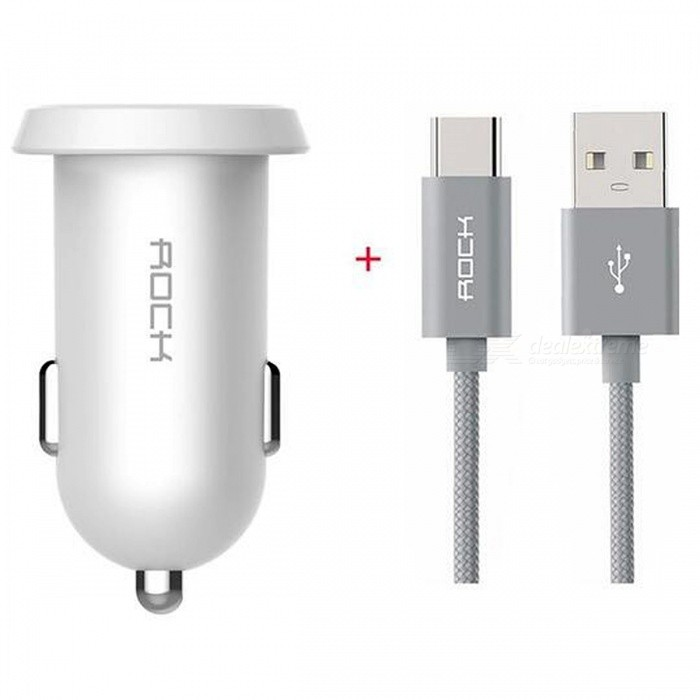 ROCK Ditor 2.4A Dual USB Car Charger with 1m Type-C Cable - WhiteCar Power Chargers<br>Form  ColorWhite + 1m Type-C CableModel-Quantity1 DX.PCM.Model.AttributeModel.UnitMaterialABSShade Of ColorWhiteInput Voltage12~24 DX.PCM.Model.AttributeModel.UnitOutput Voltage5 DX.PCM.Model.AttributeModel.UnitOutput Current2.4 DX.PCM.Model.AttributeModel.UnitInterfaceROCK 2 Ports Car ChargerApplicationCarCertificationCCC, FCC, CE, RoHSPacking List1 x Car Charger1 x 1m Type-C Cable<br>