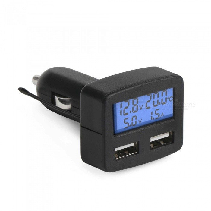 Eastor Multi-functional 3A Dual USB Car Charger with Blue Back LightVoltmeter or Thermometers or Hygrometers<br>Form  ColorBlue LightModelN/AQuantity1 DX.PCM.Model.AttributeModel.UnitMaterialABSFunctionTemperature display,voltage display,Others,AmmeterScreen Size3.6 DX.PCM.Model.AttributeModel.UnitDisplay ColorBlueTemperature Range-10 - 70 DX.PCM.Model.AttributeModel.UnitPower Supply12-24VCable Length0 DX.PCM.Model.AttributeModel.UnitPacking List1 x Multifunctional Car Charger<br>