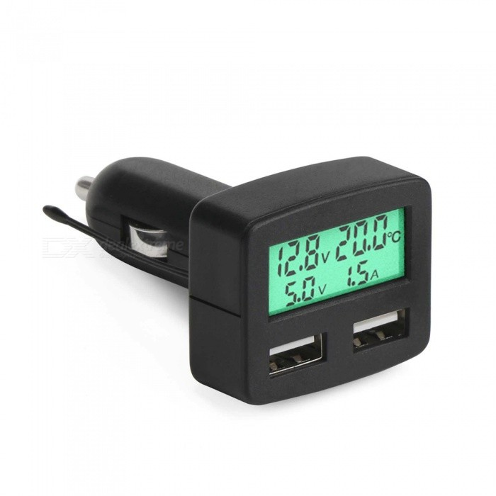 Eastor Multi-functional 3A Dual USB Car Charger with Green Back Light
