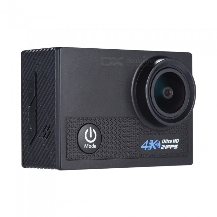 4K 24fps WiFi Sports Action Camera 1080P 60fps / Gyroscope Anti-shakeSport Cameras<br>Form  ColorBlackShade Of ColorBlackMaterialABS + PVC + PCQuantity1 pieceImage SensorOthers,Adopt for Sony IMX078 1/2.3 CMOSAnti-ShakeYesFocal DistanceLens Range: 170°, 140°, 110°, 70° Selectable mFocusing RangeLens Range: 170°, 140°, 110°, 70° SelectableWide AngleF=2.0 f/3mmEffective Pixels4KImagesJPGStill Image Resolution20M(5120 * 3840), 16M(4608 * 3456), 12M(4032 * 3024), 10M(3648 * 2736), 8M(3264 * 2448), 5M(2594 * 1944), 3M(2048 * 1536), VGA(640 * 480)VideoMP4Video ResolutionUHD P24(2880 * 2160) (interpolation), QHD P30(2560 * 1440), FHD P60/30(1920 * 1080), HD P120/60/30(1280 * 720), WVGA P30(848 * 480), VGA P240/30(640 * 480), QVGA P30(320 * 240)Video Frame Rate30,60Cycle RecordYesISOOthers,Auto/100/200/400Exposure CompensationNoSupports Card TypeSDSupports Max. Capacity64 BLCD ScreenYesBattery Measured Capacity 950 mAhNominal Capacity950 mAhBattery included or notYesWater ResistantOthers,The camera housing can go underwater 30m/98.4ft - ideal for water relative activities such as diving, surfing, swimmingPacking List1 * Action Camera with battery1 * Carrying Case1 * USB Cable1 * Waterproof Housing1 * Case Backdoor1 * Bicycle Mount1 * J-shape Mount2 * Helmet Mount1 * Bracket1 * Clip3 * Switch Support1 * Fix Base2 * Adhesive Tape4 * Bandage4 * Nylon Cable1 * Wire1 * Cleaning Cloth1 * User Manual (English)<br>