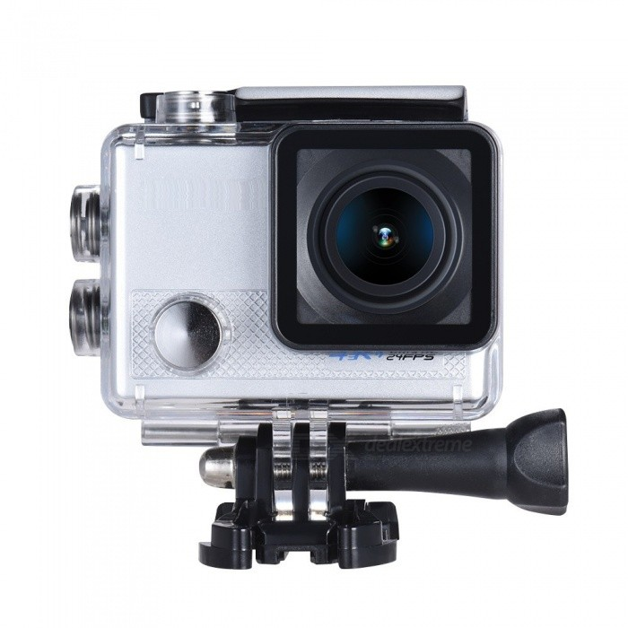 1080P 4K HD Anti-shake Wi-Fi Sports Camera with Gyroscope - SilverSport Cameras<br>Form  ColorSilverShade Of ColorSilverMaterialABS + PVC + PCQuantity1 DX.PCM.Model.AttributeModel.UnitImage SensorOthers,Adopt for Sony IMX078 1/2.3 CMOSAnti-ShakeYesFocal DistanceLens Range: 170°, 140°, 110°, 70° Selectable DX.PCM.Model.AttributeModel.UnitFocusing RangeLens Range: 170°, 140°, 110°, 70° SelectableOptical Zoom5XDigital Zoom5XWide AngleF=2.0 f/3mmEffective PixelsUHD P24(2880 * 2160) (interpolation), QHD P30(2560 * 1440), FHD P60/30(1920 * 1080), HD P120/60/30(1280 * 720), WVGA P30(848 * 480), VGA P240/30(640 * 480), QVGA P30(320 * 240)ImagesJPGStill Image Resolution20M(5120 * 3840), 16M(4608 * 3456), 12M(4032 * 3024), 10M(3648 * 2736), 8M(3264 * 2448), 5M(2594 * 1944), 3M(2048 * 1536), VGA(640 * 480)VideoMP4Video ResolutionUHD P24(2880 * 2160) (interpolation), QHD P30(2560 * 1440), FHD P60/30(1920 * 1080), HD P120/60/30(1280 * 720), WVGA P30(848 * 480), VGA P240/30(640 * 480), QVGA P30(320 * 240)Video Frame Rate30,60Cycle RecordYesISOOthers,Auto/100/200/400Exposure CompensationNoSupports Card TypeSDSupports Max. Capacity64 DX.PCM.Model.AttributeModel.UnitBuilt-in Memory / RAMNoLCD ScreenYesScreen Size2.0 DX.PCM.Model.AttributeModel.UnitBattery Measured Capacity 950 DX.PCM.Model.AttributeModel.UnitNominal Capacity950 DX.PCM.Model.AttributeModel.UnitBattery included or notYesWater ResistantOthers,The camera housing can go underwater 30m/98.4ft - ideal for water relative activities such as diving, surfing, swimming.Packing List1 x Action Camera with battery1 x Carrying Case1 x USB Cable1 x Waterproof Housing1 x Case Backdoor1 x Bicycle Mount1 x J-shape Mount2 x Helmet Mounts1 x Bracket1 x Clip3 x Switch Supportx1 x Fix Base2 x Adhesive Tapes4 x Bandages4 x Nylon Cables1 x Wire1 x Cleaning Cloth1 x User Manual (English)<br>