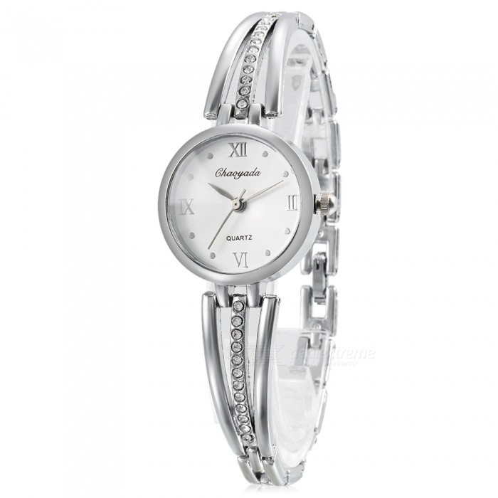 Chaoyada 1121 Rhinestone Bracelet Womens Elegant Quartz WatchWomens Bracelet Watches<br>Form  ColorSilverModel1121Quantity1 DX.PCM.Model.AttributeModel.UnitShade Of ColorSilverCasing MaterialElectroplating steelWristband MaterialElectroplating steelSuitable forAdultsGenderWomenStyleWrist WatchTypeFashion watchesDisplayAnalogDisplay Format12 hour formatMovementQuartzWater ResistantFor daily wear. Suitable for everyday use. Wearable while water is being splashed but not under any pressure.Dial Diameter2.7 DX.PCM.Model.AttributeModel.UnitDial Thickness1 DX.PCM.Model.AttributeModel.UnitBand Width0.7 DX.PCM.Model.AttributeModel.UnitWristband Length19.7 DX.PCM.Model.AttributeModel.UnitBattery1 x LR626 battery (included)Packing List1 x Watch<br>