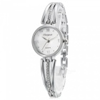 Fashionable Square Crystal Dial Analog Quartz Wrist Watch for Women - Silver