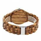 Redear Round Vintage Zebra Wood Case Dial Men's Casual Watch - Brown