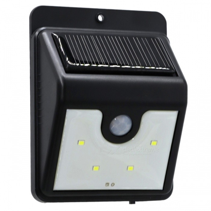 YWXLigh 4-LED Waterproof LED Solar Power Security LampWall Lights<br>Form  ColorBlackMaterialPCQuantity1 DX.PCM.Model.AttributeModel.UnitPower2WRated VoltageOthers,5 DX.PCM.Model.AttributeModel.UnitEmitter TypeOthers,2835 SMD LEDTotal Emitters4Theoretical Lumens200-300 DX.PCM.Model.AttributeModel.UnitActual Lumens100-200 DX.PCM.Model.AttributeModel.UnitColor BINCold WhiteColor Temperature6000-6500KDimmableNoBeam Angle120 DX.PCM.Model.AttributeModel.UnitInstallation TypeOthersPacking List1 x YWXLight Solar PIR Motion Sensor Light2 x Installing Screws<br>