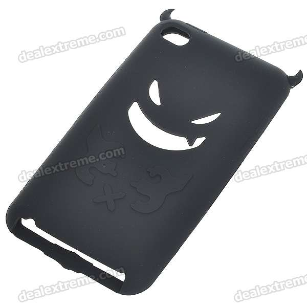 protective soft silicone back case for ipod touch 5 orange Protective Silicone Evil Style Back Case for Ipod Touch 4 - Black