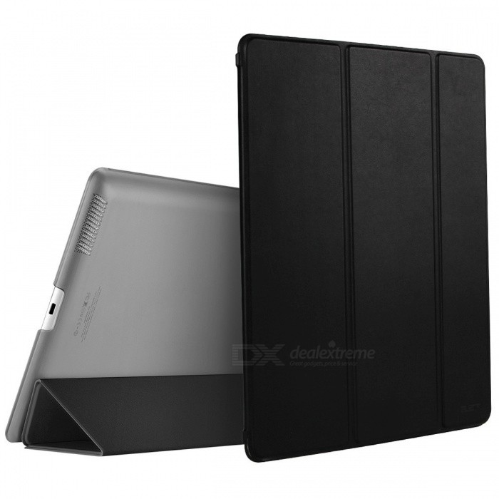 Ultra Slim Smart Cover Case for iPad 2/3/4 - BlackIpad Cases<br>Form  ColorBlackQuantity1 pieceMaterialPU LeatherShade Of ColorBlackCompatible ModelsIPAD 4,THE NEW IPAD(IPAD 3),IPAD 2DesignSolid ColorTypeCases with Stand,Leather Cases,Full Body CasesAuto Wake-up / SleepYesPacking List1 x Case<br>