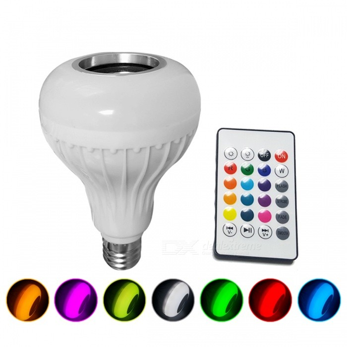 E27 Smart RGB Music LED Light Bulb for Dimmable LED BulbColor BINRGBMaterialAluminum and PlasticForm  ColorWhiteQuantity1 setPower7WRated VoltageOthers,100-240 VConnector TypeE27Chip BrandCreeEmitter TypeLEDTotal Emitters24Actual Lumens500-999 lumensColor Temperature12000K,Others,Nature White (3500-5500K)DimmableYesBeam Angle180 °Packing List1 x Bluetooth Music Bulbs1 x 24 key Remote Controller (Not include Battery )<br>