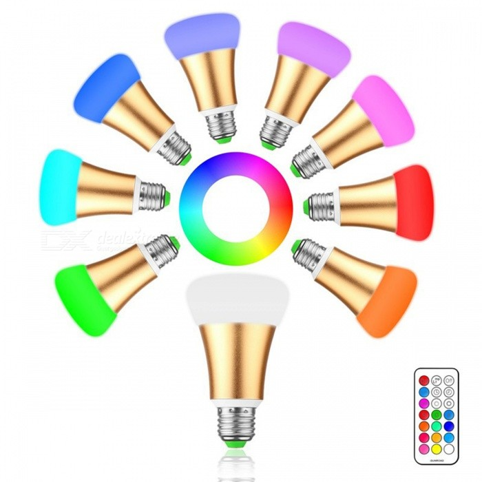 E27 10W RGB + Cool White LED Bulb Light w/ Remote ControllerColor BINGold(RGB)MaterialAluminum alloy + PCForm  ColorWhiteQuantity1 setPower10WRated VoltageAC 85-265 VConnector TypeE27Chip BrandEpistarChip Type2835Emitter TypeLEDTotal Emitters12Actual Lumens250 - 499 lumensColor Temperature12000K,Others,Cool White(5500-7000K)DimmableYesBeam Angle360 °Packing List1 * 10W RGBW LED light1 * 21 Keys IR remote<br>