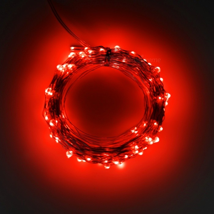 5W 33Ft 10M 100-LED Battery Operated LED String Light - Red LightLED String<br>Form  ColorWhite + TranslucentColor BINRedMaterialCopper wire &amp; PVCQuantity1 setPower5WRated VoltageOthers,4.5 VEmitter TypeLEDTotal Emitters100WavelengthN/AActual LumensN/A lumensPower AdapterOthers,3 x AA batteries(not included)Packing List1 x 10M 100 LEDs Battery string light (battery not included)<br>