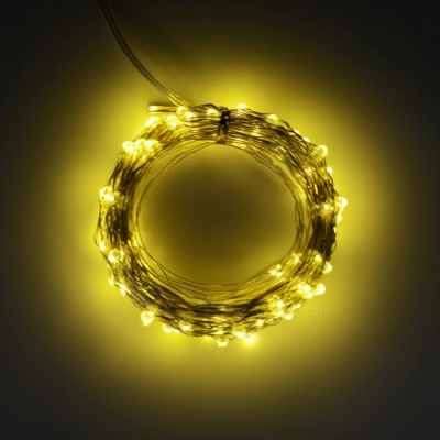 5W 33Ft 10M 100-LED Battery Operated LED String Light - Yellow Light