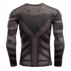 3D Printing Fast-Drying Long-Sleeve Tight Fitting Male T-shirt - Grey