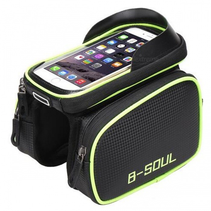 B-SOUL Bicycle Water Resistant 6.2 Phone Bag Tube Bag - GreenBike Bags<br>Form  ColorBlack + GreenModelYA0210Quantity1 DX.PCM.Model.AttributeModel.UnitMaterialPolyester + carbon fiber leather + TPUTypeSaddle BagsCapacity800 DX.PCM.Model.AttributeModel.UnitWaterproofYesGenderUnisexBest UseMountain Cycling,Recreational Cycling,Road CyclingOther FeaturesName: Bicycle car package<br><br>Brand: B-SOUL<br><br>Color: Red Blue Green<br><br>Model: YA0210<br><br>Material: polyester + carbon fiber leather + TPU<br><br>Size: Package Size: 17.5 * 12 * 3.5cm (Unilateral Size)<br><br>          Mobile phone bag size: 6.2 inches: 17.5 * 9.5cm<br><br>Weight: 0.248kgPacking List1*B-SOUL Bicycle Car Bag<br>