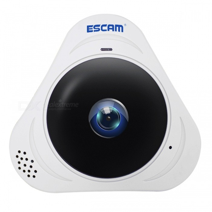 ESCAM Q8 HD 960P 360 Degree Panoramic Monitor Fisheye Camera (EU Plug)IP Cameras<br>Form  ColorWhitePower AdapterEU PlugModelQ8MaterialABSQuantity1 DX.PCM.Model.AttributeModel.UnitImage SensorCMOSImage Sensor SizeOthers,1/4Pixels960PLensOthers,1.44mmViewing AngleOthers,360 DX.PCM.Model.AttributeModel.UnitVideo Compressed FormatH.264Picture Resolution960PFrame Rate25Input/OutputBuiltinmicrophone/Builtinspeaker(81W)Audio Compression FormatOthers,G.711AMinimum Illumination0.1 DX.PCM.Model.AttributeModel.UnitNight VisionYesIR-LED Quantity3Night Vision Distance10 DX.PCM.Model.AttributeModel.UnitWireless / WiFi802.11 b / g / nNetwork ProtocolTCP,IP,HTTP,SMTP,DHCP,NTP,DDNS,uPnPSupported SystemsXP,Vista,7Supported BrowserOthers,N/ASIM Card SlotStandard SIM CardOnline Visitor5IP ModeDynamicMobile Phone PlatformAndroid,iOSFree DDNSYesIR-CUTYesBuilt-in Memory / RAMNoLocal MemoryYESMemory CardTFMax. Memory Supported128GMotorNoRotation AngleNOZoomNOSupported LanguagesEnglish,Simplified ChineseWater-proofNoRate Voltage5VRated Current2 DX.PCM.Model.AttributeModel.UnitIntercom FunctionYesCertificationCE ROHSPacking List1 x IP Camera\1 x Charger1 x USB Cable1 x User manual1 x Set of Screws1 x Base<br>