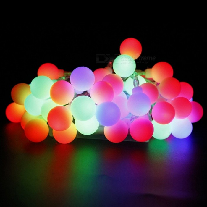 KWB 10m 100-LED Colorful Round Ball Holiday Light String (EU Plug)LED String<br>Form  ColorWhiteColor BINMulti-colorModelKWBMaterialPlasticQuantity1 piecePower8WRated VoltageAC 220-240 VChip BrandEpistarEmitter TypeLEDTotal Emitters100WavelengthNOTheoretical Lumens1000 lumensActual Lumens800 lumensPower AdapterEU PlugCertificationCE ROHSPacking List1 x 10M 100-LED String Light<br>