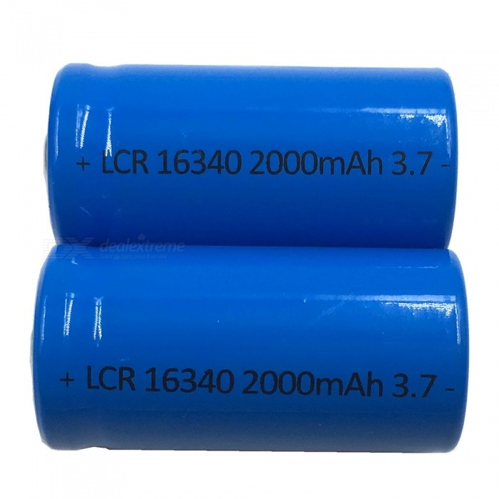 ZHAOYAO 2Pcs 3.7V 16340 2000mAh Rechargeable Lithium Battery - Blue