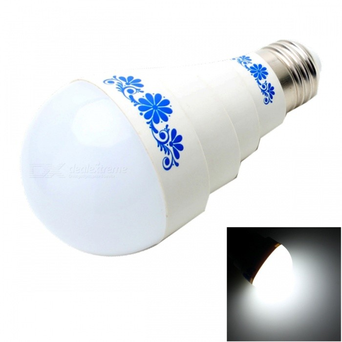 E27 5W 400lm 5500K 10-LED White Light Chinese Style Pattern BulbE27<br>Color BINNeutral WhiteModelNOMaterialABSForm  ColorWhiteQuantity1 setPower5WRated VoltageAC 85-265 VConnector TypeE27Chip BrandOthers,SamsungChip Type5630Emitter TypeLEDTotal Emitters10Theoretical Lumens400 lumensActual Lumens350 lumensColor Temperature5000KDimmableNoBeam Angle180 °Packing List1 x Light bulb<br>