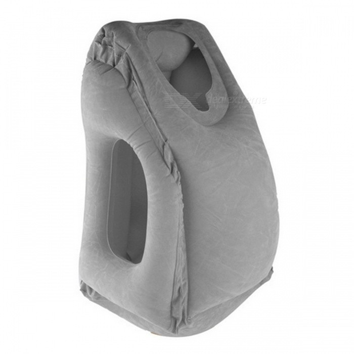 Travel Inflatable Air Soft Cushion Neck Pillow - GreyNeck Supports<br>Form  ColorGreyQuantity1 DX.PCM.Model.AttributeModel.UnitMaterialFlockingPillow typeNeck PillowTypeOthers,Neck PillowPacking List1 x Inflatable pillow<br>