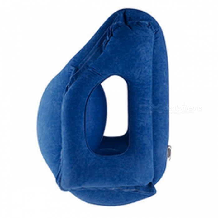 Travel Inflatable Air Soft Cushion Neck Pillow - BlueTravelling Needs<br>Form  ColorBlueQuantity1 pieceMaterialFlockingPillow typeNeck PillowTypeOthers,Neck PillowPacking List1 x Inflatable pillow<br>