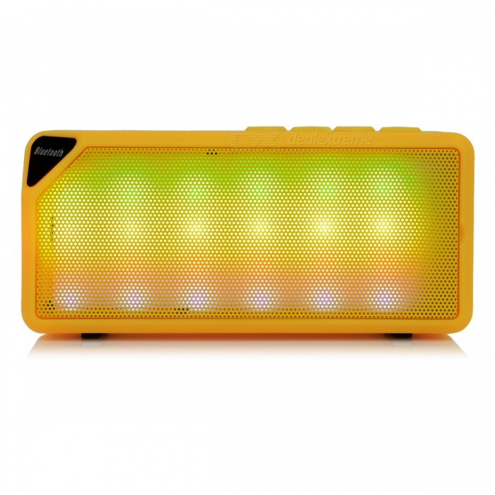 Portable Mini Wireless Bluetooth Speaker w/ TF Card Slot - YellowBluetooth Speakers<br>Form  ColorYellowModelN/AMaterialPlastic + alloyQuantity1 pieceShade Of ColorYellowBluetooth HandsfreeYesBluetooth ChipCSRBluetooth VersionBluetooth V2.1Operating Range10MTotal Power3 WChannels1.0Interface3.5mm,USB 2.0MicrophoneYesSNR80dBSensitivity3.6Frequency Response120Hz -18kHzImpedance4 ohmApplicable ProductsIPHONE 5,IPHONE 4,IPHONE 4S,IPHONE 3G,IPHONE 3GS,IPHONE 5S,IPHONE 5CRadio TunerNoFM Frequency87.5-108MHzAM Frequency87.5-108MHzSupports Card TypeMicroSD (TF)Max Extended Capacity16GBuilt-in Battery Capacity 1200 mAhTalk Time6 hourStandby Time18 hourMusic Play Time6 hourPower AdapterUSBPower Supply3.7V 0.5APacking List 1x YCYY X3S Wireless Bluetooth Speaker 1 x USB Cable<br>