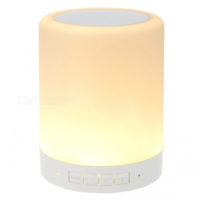Mini Smart Music Lamp Light with Bluetooth Speaker w/ TF Slot - WhiteBluetooth Speakers<br>Form  ColorWhiteModelN/AMaterialPlastic + alloyQuantity1 DX.PCM.Model.AttributeModel.UnitShade Of ColorWhiteBluetooth HandsfreeYesBluetooth ChipCSRBluetooth VersionBluetooth V4.0Operating Range10MTotal Power5 DX.PCM.Model.AttributeModel.UnitChannels2.0Interface3.5mm,USB 2.0MicrophoneYesFrequency Response50 hz ~ 20 khzImpedance4 DX.PCM.Model.AttributeModel.UnitApplicable ProductsIPHONE 5,IPHONE 4,IPHONE 4S,IPHONE 3G,IPHONE 3GS,IPHONE 5S,IPHONE 5CRadio TunerNoFM Frequency2.402 ghz ~ 2.48 ghzBuilt-in Battery Capacity 800 DX.PCM.Model.AttributeModel.UnitTalk Time6 DX.PCM.Model.AttributeModel.UnitStandby Time20 DX.PCM.Model.AttributeModel.UnitMusic Play Time8 DX.PCM.Model.AttributeModel.UnitPower AdapterUSBPower Supply3.7V 0.5AOther FeaturesGreat for home or camping usePacking List1 x Bluetooth Speaker/Lamp1 x 3.5mm audio cable1 x USB Cable1 x User Manual<br>