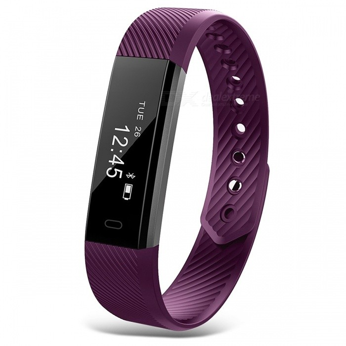 ID115 IP67 Waterproof Smart Bracelet with Fitness Tracker - PurpleSmart Bracelets<br>Form  ColorPurpleModelID115Quantity1 pieceMaterialPlasticShade Of ColorPurpleWater-proofIP67Bluetooth VersionBluetooth V4.0Touch Screen TypeOthers,OLEDCompatible OSAndroid 4.4 and iOS 7.1 or aboveBattery Capacity50 mAhBattery TypeLi-polymer batteryStandby Time10 daysPacking List1 x ID115 Smart Wristband1 x English Manual<br>