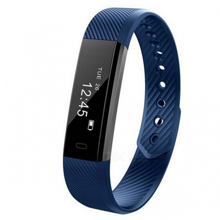 ID115 IP67 Waterproof Smart Bracelet with Fitness Tracker - BlueSmart Bracelets<br>Form  ColorBlueModelID115Quantity1 DX.PCM.Model.AttributeModel.UnitMaterialPlasticShade Of ColorBlueWater-proofIP67Bluetooth VersionBluetooth V4.0Touch Screen TypeOthers,OLEDCompatible OSAndroid 4.4 and iOS 7.1 or aboveBattery Capacity50 DX.PCM.Model.AttributeModel.UnitBattery TypeLi-polymer batteryStandby Time10 DX.PCM.Model.AttributeModel.UnitPacking List1 x ID115 Smart Wristband1 x English Manual<br>