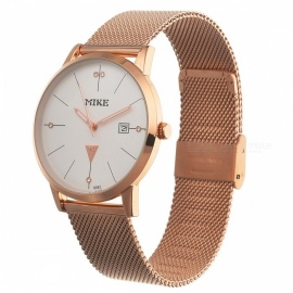 Unisex Stylish Quartz Metal Wrist Watch for Men Women - White + Golden