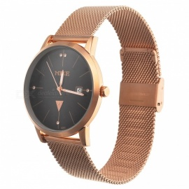 Unisex Stylish Quartz Metal Wrist Watch for Men Women - Golden