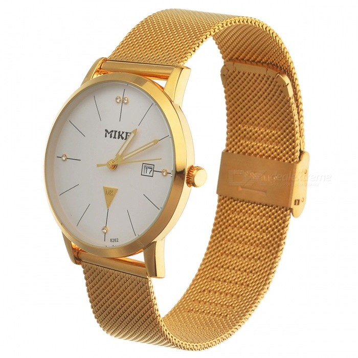 MIKE Unisex Stylish Quartz Metal Wrist Watch - Golden + WhiteQuartz Watches<br>Form  ColorWhite + GoldenModel8262Quantity1 DX.PCM.Model.AttributeModel.UnitShade Of ColorWhiteCasing MaterialAlloyWristband MaterialMetalSuitable forAdultsGenderUnisexStyleWrist WatchTypeFashion watchesDisplayAnalogMovementQuartzDisplay Format12 hour formatWater ResistantFor daily wear. Suitable for everyday use. Wearable while water is being splashed but not under any pressure.Dial Diameter3.5 DX.PCM.Model.AttributeModel.UnitDial Thickness1 DX.PCM.Model.AttributeModel.UnitWristband Length24 DX.PCM.Model.AttributeModel.UnitBand Width2 DX.PCM.Model.AttributeModel.UnitBattery626Packing List1 x Watch<br>