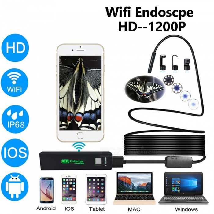 BLCR 8mm HD 1200P 8-LED IP68 Wi-Fi Endoscope with Hardwire (10m)Microscopes &amp; Endoscope<br>Snake Cable Length10m SoftwireModelN/AQuantity1 DX.PCM.Model.AttributeModel.UnitForm  ColorBlackMaterialPlasticCamera Pixels2.0MPCompatible OSIOS / Android / Windows/MacCamera head outer diameter8mmLED Bulb Qty8Packing List1 x Endoscope1 x Wifi box &amp; power bank (2 in1 kits)1 x Side mirror1 x Hook1 x Magnet1 x waterproof set<br>