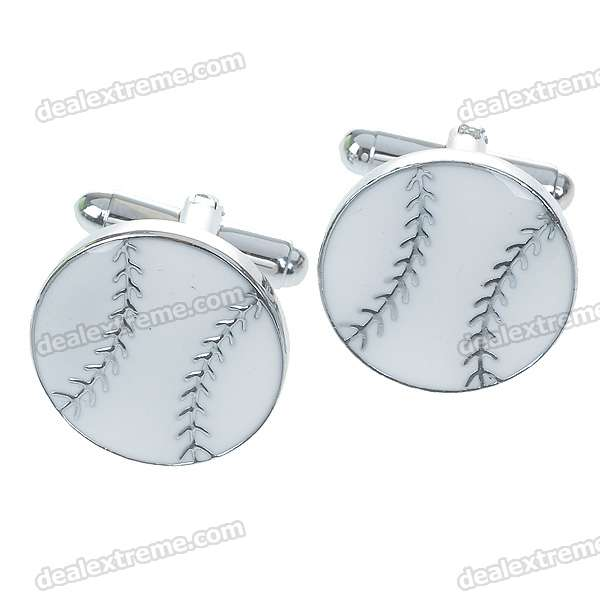Charming Plating White Steel Cufflinks for Men - Baseball (Pair)
