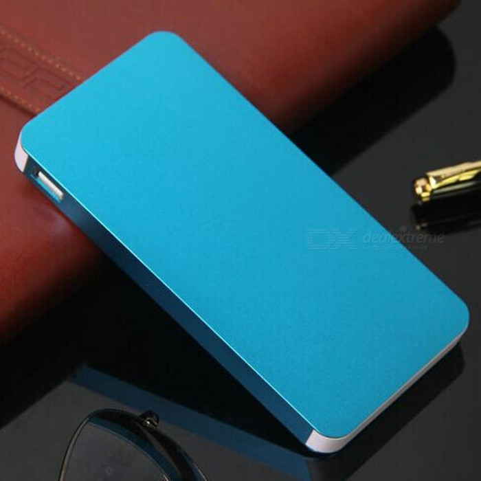 Ultra Thin 12000mAh Dual USB Power Bank - Blue