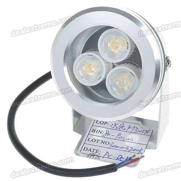 3W 3-LED 270-Lumen Waterproof Flood Light/Projection Warm White Lamp (12V)