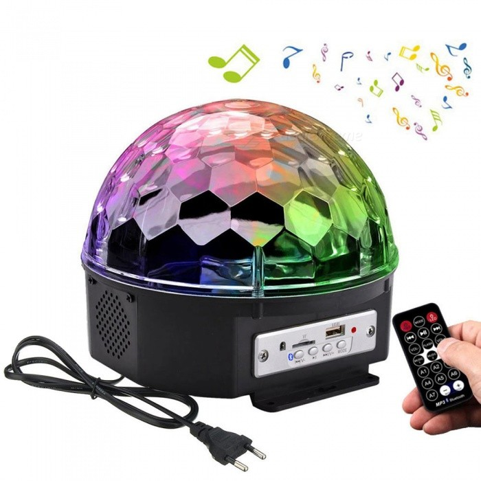 YouOKLight 6-Color LED Rotate Music Bulb with Remote Control (EU Plug)Stage Lights<br>Form  ColorBlack (EU Plug)ModelYK2227-EUMaterialABSQuantity1 DX.PCM.Model.AttributeModel.UnitShade Of ColorMulti-colorPattern TypePoint shape + round shapePower AdapterEU PlugPacking List1 x RGB Crystal Magic Ball - EU Plug (Adapter Length:140cm / 55inch ) 1 x Remote Control (Include Battery) 1 x Product Manual<br>