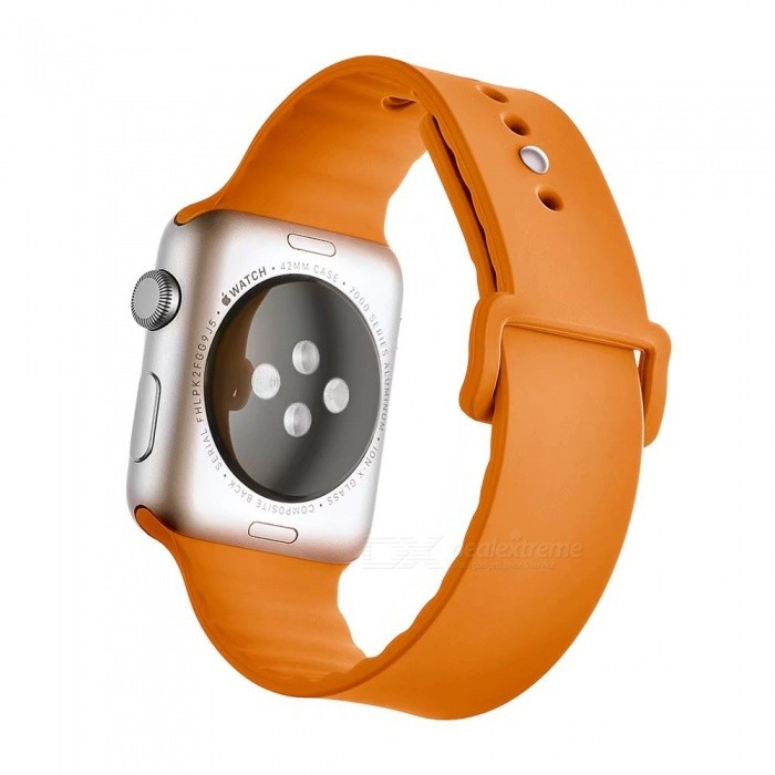 Miimall Soft Silicone Watch Strap for Apple Watch 38mm - OrangeWearable Device Accessories<br>Form  ColorOrangeQuantity1 pieceMaterialSiliconePacking List1 x Soft silicone Watch Band for Apple Watch 38mm<br>