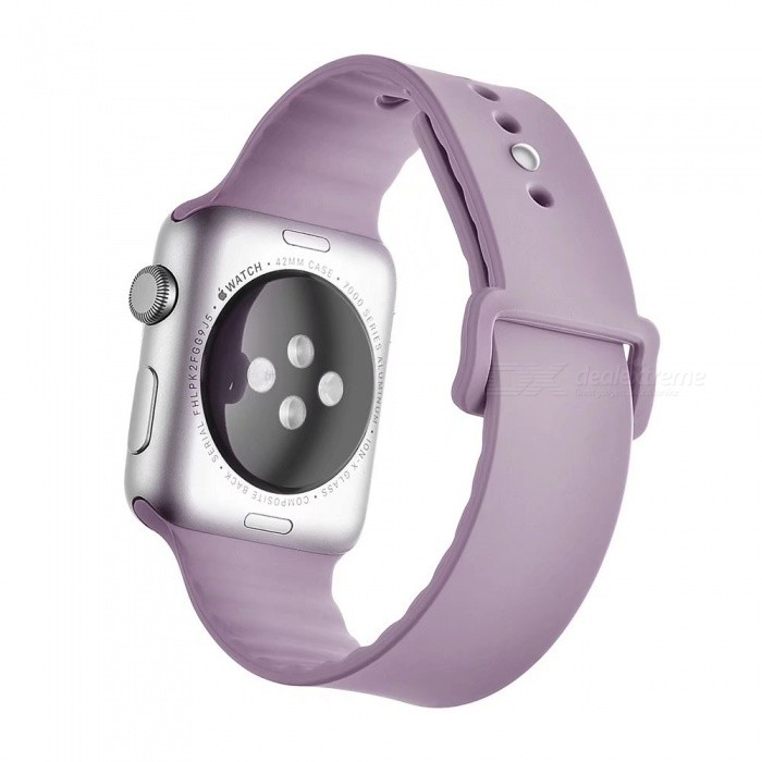 Miimall Soft Silicone Watch Strap for Apple Watch 42mm - Light PurpleWearable Device Accessories<br>Form  ColorLight PurpleQuantity1 pieceMaterialSoft SiliconePacking List1 x Soft Silicone Strap for iWatch 42mm<br>