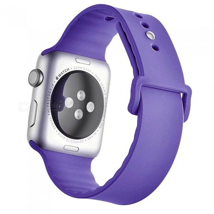 Miimall Soft Silicone Watch Strap for Apple Watch 42mm - PurpleWearable Device Accessories<br>Form  ColorPurpleQuantity1 pieceMaterialSoft SiliconePacking List1 x Soft Silicone Strap for iWatch 42mm<br>