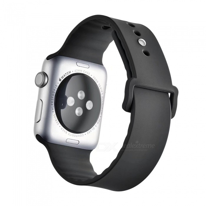 Miimall Soft Silicone Watch Strap for Apple Watch 38mm - BlackWearable Device Accessories<br>Form  ColorBlackQuantity1 DX.PCM.Model.AttributeModel.UnitMaterialSiliconePacking List1 x Soft silicone Watch Band for Apple Watch 38mm<br>