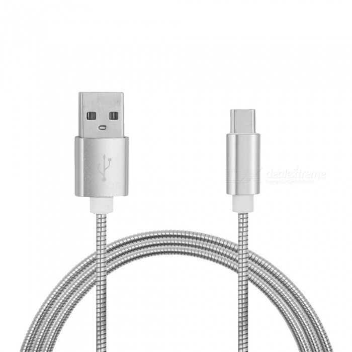 Stainless Steel Spring Type-C Fast Charging Data Cable for Oneplus 5Cables<br>Form  ColorSilverMaterialStainless steelQuantity1 pieceCompatible ModelsOneplus 5Cable Length100 cmConnectorUSB 3.1 Type-cPacking List1 x Cable<br>