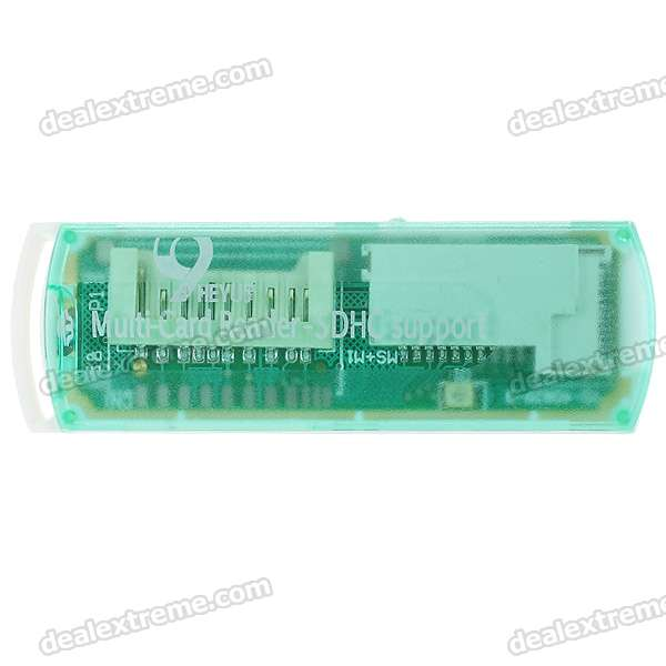 Compact All-in-One Mini USB 2.0 MS/M2/Mini SD/TF/SD/MMC Card Reader (Translucent Green)