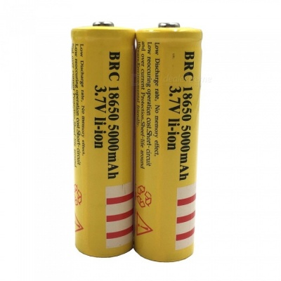 ZHAOYAO 2Pcs 3.7V 18650 5000mAh Rechargeable Lithium Battery - Yellow