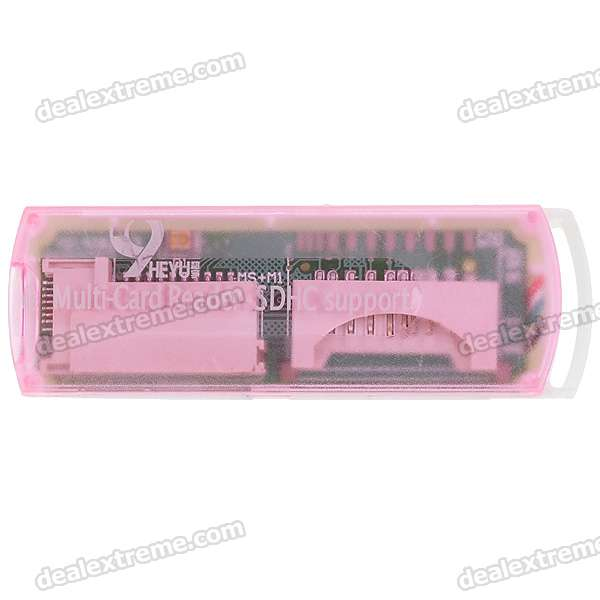 Compact All-in-One Mini USB 2.0 MS/M2/Mini SD/TF/SD/MMC Card Reader (Translucent Pink)