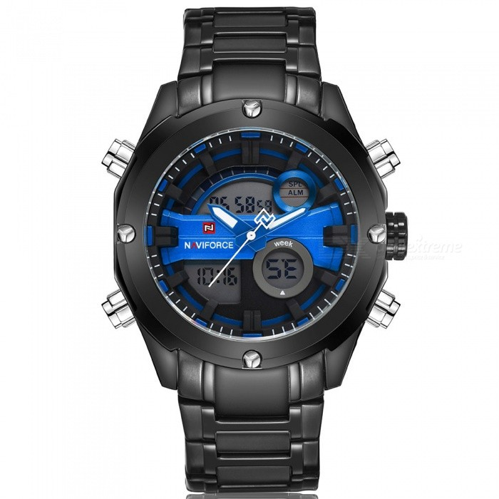 NaviForce 9088 Mens Sports Metal Wrist Quartz Watch - Black, BlueSport Watches<br>Form  ColorBlack + Blue (Without Gift Box)ModelNF9088Quantity1 pieceShade Of ColorBlackCasing MaterialStainless SteelWristband MaterialStainless SteelSuitable forAdultsGenderMenStyleWrist WatchTypeSports watchesDisplayAnalog + DigitalMovementQuartzDisplay Format12/24 hour time formatWater ResistantWater Resistant 3 ATM or 30 m. Suitable for everyday use. Splash/rain resistant. Not suitable for showering, bathing, swimming, snorkelling, water related work and fishing.Dial Diameter4.5 cmDial Thickness1.7 cmWristband Length24 cmBand Width2.4 cmBattery1 x Button batteryPacking List1 x Watch<br>
