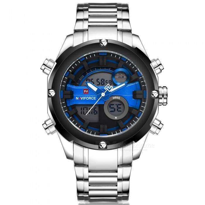 NaviForce 9088 Mens Sports Metal Wrist Quartz Watch - Silver, BlueSport Watches<br>Form  ColorSilver + Blue (With Gift Box)ModelNF9088Quantity1 DX.PCM.Model.AttributeModel.UnitShade Of ColorSilverCasing MaterialStainless SteelWristband MaterialStainless SteelSuitable forAdultsGenderMenStyleWrist WatchTypeSports watchesDisplayAnalog + DigitalMovementQuartzDisplay Format12/24 hour time formatWater ResistantWater Resistant 3 ATM or 30 m. Suitable for everyday use. Splash/rain resistant. Not suitable for showering, bathing, swimming, snorkelling, water related work and fishing.Dial Diameter4.5 DX.PCM.Model.AttributeModel.UnitDial Thickness1.7 DX.PCM.Model.AttributeModel.UnitWristband Length24 DX.PCM.Model.AttributeModel.UnitBand Width2.4 DX.PCM.Model.AttributeModel.UnitBattery1 x Button batteryPacking List1 x Watch1 x Gift Box<br>