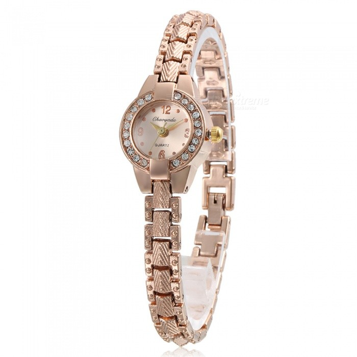 Chaoyada 1123 Rhinestone Bracelet Womens Elegant Quartz WatchWomens Bracelet Watches<br>Form  ColorRose GoldModel1123Quantity1 DX.PCM.Model.AttributeModel.UnitShade Of ColorGoldCasing MaterialElectroplating steelWristband MaterialElectroplating steelSuitable forAdultsGenderWomenStyleWrist WatchTypeFashion watchesDisplayAnalogDisplay Format12 hour formatMovementQuartzWater ResistantFor daily wear. Suitable for everyday use. Wearable while water is being splashed but not under any pressure.Dial Diameter2.1 DX.PCM.Model.AttributeModel.UnitDial Thickness0.8 DX.PCM.Model.AttributeModel.UnitBand Width0.8 DX.PCM.Model.AttributeModel.UnitWristband Length19 DX.PCM.Model.AttributeModel.UnitBattery1 x LR626 battery (included)Packing List1 x Watch<br>