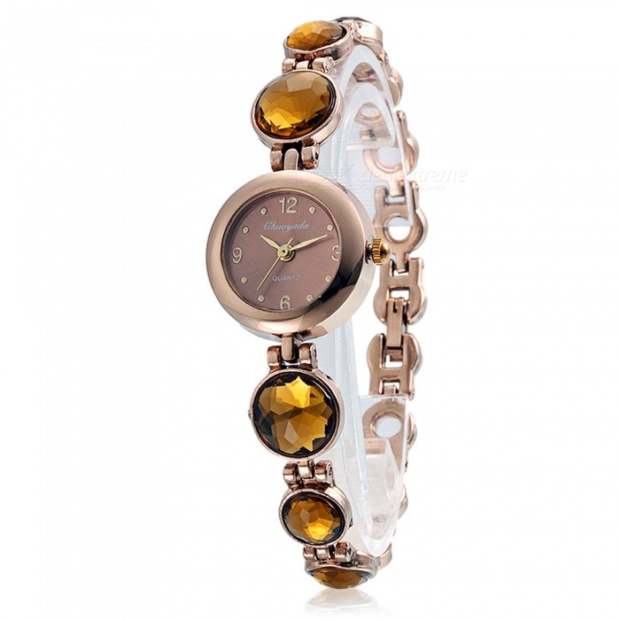 Chaoyada 1125 Rhinestone Bracelet Womens Elegant Quartz WatchWomens Bracelet Watches<br>Form  ColorChampagne GoldModel1125Quantity1 DX.PCM.Model.AttributeModel.UnitShade Of ColorGoldCasing MaterialElectroplating steelWristband MaterialElectroplating steelSuitable forAdultsGenderWomenStyleWrist WatchTypeFashion watchesDisplayAnalogDisplay Format12 hour formatMovementQuartzWater ResistantFor daily wear. Suitable for everyday use. Wearable while water is being splashed but not under any pressure.Dial Diameter2.9 DX.PCM.Model.AttributeModel.UnitDial Thickness0.8 DX.PCM.Model.AttributeModel.UnitBand Width0.9 DX.PCM.Model.AttributeModel.UnitWristband Length20.7 DX.PCM.Model.AttributeModel.UnitBattery1 x LR626 battery (included)Packing List1 x Watch<br>
