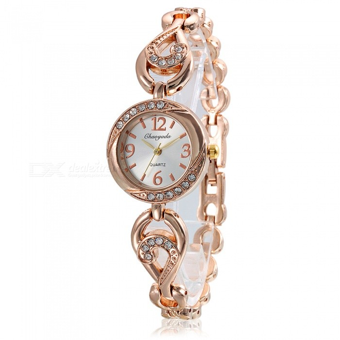 Chaoyada 1127 Rhinestone Bracelet Womens Elegant Quartz WatchWomens Bracelet Watches<br>Form  ColorRose GoldModel1127Quantity1 DX.PCM.Model.AttributeModel.UnitShade Of ColorGoldCasing MaterialElectroplating steelWristband MaterialElectroplating steelSuitable forAdultsGenderWomenStyleWrist WatchTypeFashion watchesDisplayAnalogDisplay Format12 hour formatMovementQuartzWater ResistantFor daily wear. Suitable for everyday use. Wearable while water is being splashed but not under any pressure.Dial Diameter2.8 DX.PCM.Model.AttributeModel.UnitDial Thickness0.8 DX.PCM.Model.AttributeModel.UnitBand Width0.9 DX.PCM.Model.AttributeModel.UnitWristband Length21 DX.PCM.Model.AttributeModel.UnitBattery1 x LR626 battery (included)Packing List1 x Watch<br>