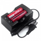 ZHAOYAO 2 Pcs 3.7V 3000mAh Red 18650 Li-ion Batteries with US Charger
