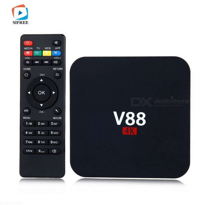 V88 Quad-Core 1GB 8GB Android 6.0 HD Smart TV Box - Black (EU Plug)Smart TV Players<br>Form  ColorBlackBuilt-in Memory / RAM1GBStorage8GBPower AdapterEU PlugModelV88Quantity1 DX.PCM.Model.AttributeModel.UnitMaterialPlasticShade Of ColorBlackOperating SystemAndroid 6.0ChipsetRK3229 1.5GHz, Quad-CoreCPUCortex-A7Processor FrequencyRK3229GPUMali-400Menu LanguageEnglish,Others,Multi-languageRAM/Memory TypeDDR3 SDRAMMax Extended Capacity16GBSupports Card TypeSDWi-Fi802.11 b/g /nBluetooth VersionNo3G FunctionNoWireless Keyboard/Mouse2.4GAudio FormatsOthers,AAC,FLAC,MP3,OGG,RM,WMAVideo FormatsOthers,4K,AVI,DAT,MKV,MOV,MPEG,MPG,RM,VC-1,WMVAudio CodecsOthers,AAC,FLAC,MP3,OGG,RM,WMAVideo CodecsH.264,H.265Picture FormatsOthers,JPEG,JPG,PNGSubtitle FormatsOthers,/Output Resolution4KHDMI2.0USBUSB 2.0Other InterfaceAV,DC Power Port,HDMI,RJ45,SD Card Slot,SPDIF,USB2.0Power Supply5V 2APacking List1 x TV Box1 x Power Charger Adapter1 x HDMI Cable1 x Remote Control1 x English Manual<br>